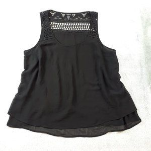 4/$25 Torrid Black Layered Chiffon Crochet Tank L